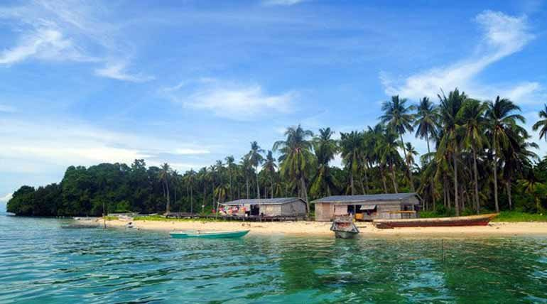 Sebangkat Island on a clear day.
